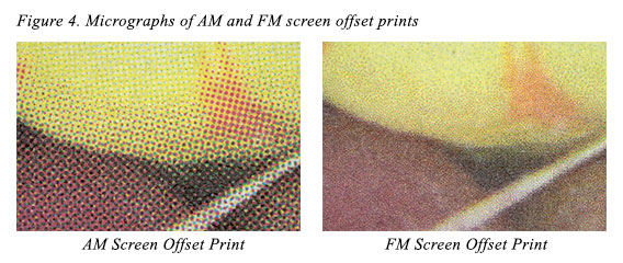 Figure 4. Micrographs of AM and FM screen offset prints