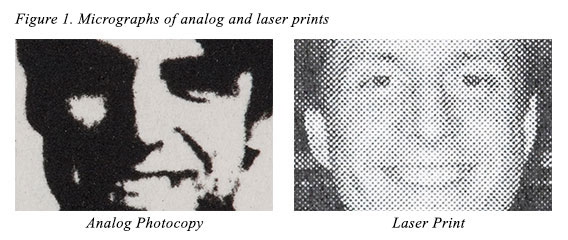 Figure 1. Micrographs of analog and laser prints